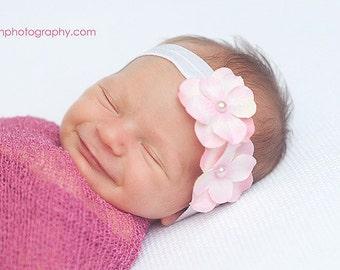 Hydrangea Pink Flower Headband White Foldover Elastic Newborn Toddler Infant HEADBAND Baby headband headbands. photography photo prop