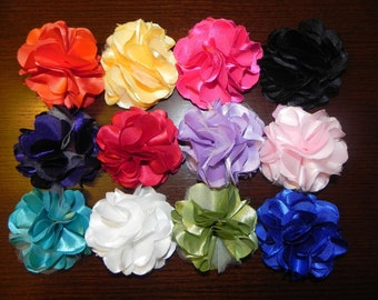 Vintage Inspired Satin Flower Puff Clip or Pin. For interchangeable Headbands. Baby headbands photography props