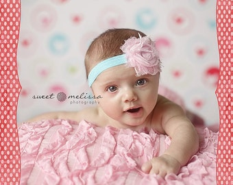 Turquoise and Light Pink Shabby Chic Frayed Rose Flower Baby Headband. Pink Elastic Headband. Flower headband. Stretchy Photography prop
