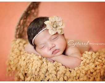 Delphinium Vintage Inspired Tan Beige Skinny Baby Headband. Pearl Flower headband Baby girl headbands. Photography prop Elastic