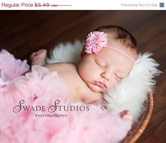 Pink Skinny Pom Pom Flower Headband Baby Photo Prop. Pink Elastic. Pink headband. baby photography. Baby shower gift