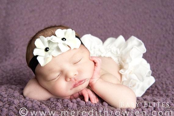 Black and Off White Hydrangea Flower Headband. Black Foldover Elastic Soft Newborn Toddler Infant HEADBAND. Elastic headband. Baby headband