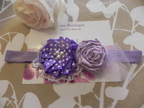 Fancy Purple Lavender Satin Rosette Headband with Lavender Elastic & Tulle. Baby, Toddler, Adult, ALL SIZES.