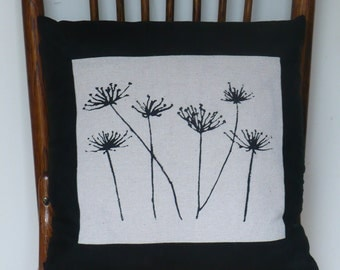Pillow, Queen Ann's Lace Screen Printed onto Natural Cotton, with Black Linen Border and Back.