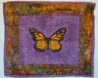 Monarch Butterfly Wall Hanging, Quilted, Hand Painted