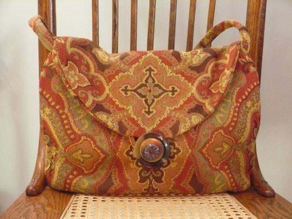 Handbag, tapestry, reds, golds, browns