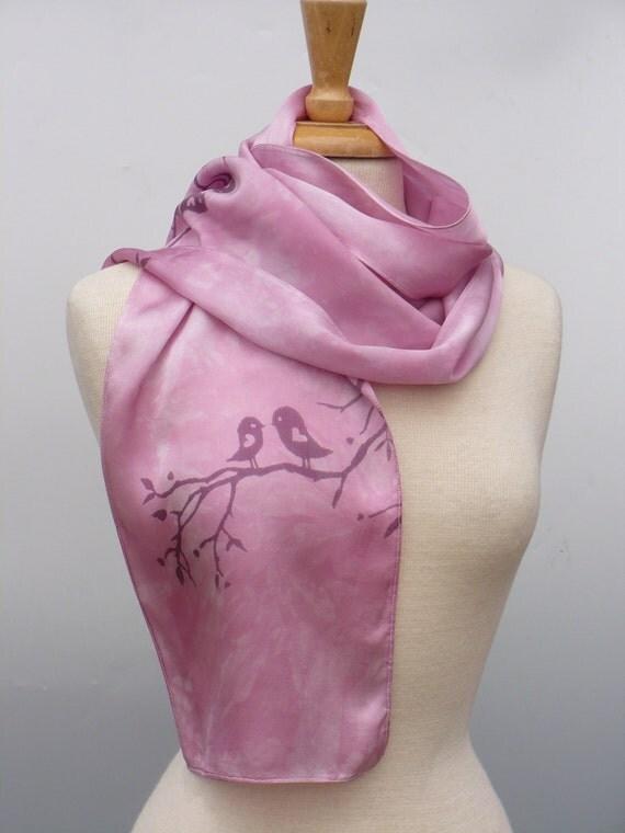 Pink silk scarf,  love birds