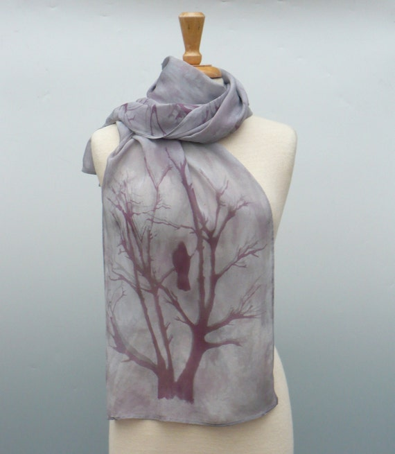 silk scarf, hand dyed with printed crow in tree