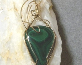 Malachite Wire Wrapped Pendant
