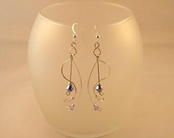 Lilac Swarovski Wire Wrapped Silver Earrings