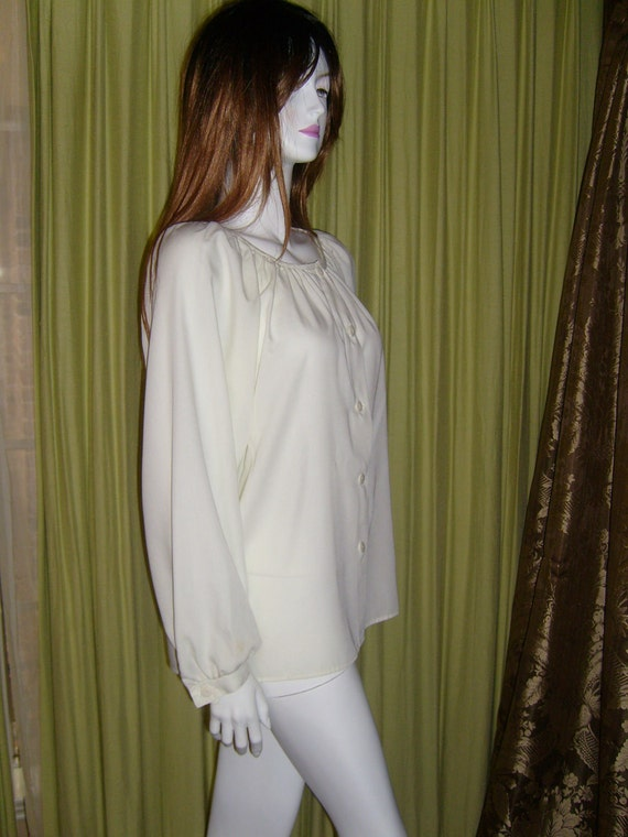 70s Poet Sleeve White Ivory Renaissance Style Button Down Long Sleeved Shirt Blouse Top Vintage Pirate Medium M Large L
