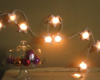 Fairy Lights, Nursery Night Light, Antique White Felt Stars, Twinkle Lights, housewarming
