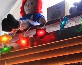 String Lights, Kids Room Night Light, toddler gift, Baby Shower Gift, Nursery Decor, Colorful Rainbow Star Felt String Lights