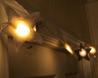 Felt Star String Light/Night Light (Antique White and Soft Gray)
