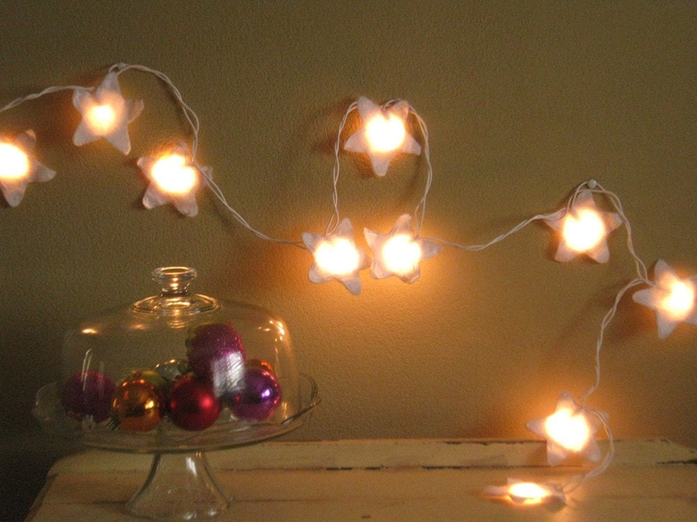 Electric Star String Lights : Fairy Lights Nursery Night Light Antique White Felt Stars