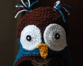 Baby or Child's Owl Hat with Earflaps and Tassles. Made to Order