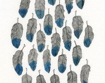 Pen and ink feather drawing