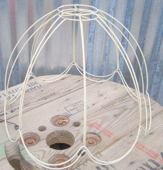 Vintage White Lamp Shade Frames, Set of 2