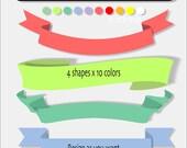 40 PNG digital ribbon or banner clipart - Banner or ribbon digital clipart scrapbook- INSTANT DOWNLOAD Pack 132