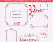 Digital frames or labels, Ornemental flourish clipart, Digital scrapbook clip art frames - 32 PNG files INSTANT DOWNLOAD 184