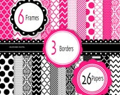 Classic Hot Pink and Black Digital Scrapbook Paper and elements - 26 sheets and 9 cliparts - INSTANT DOWNLOAD  077