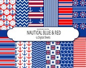 Blue and Red Nautical digital paper pack, scrapbook paper -  Pack 251