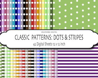 Value Pack Dots and stripes Digital scrapbook printable paper pack, 42 files in high definition  INSTANT DOWNLOAD 318