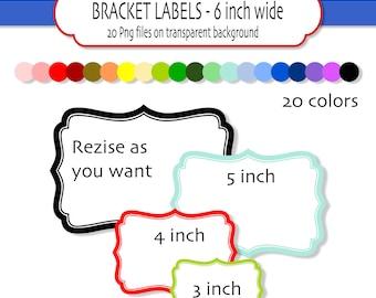 20 Digital Bracket frames or labels - INSTANT DOWNLOAD Digital clipart frames - Digital scrapbook frames - 20 PNG  6 inch wide - Pack 121