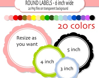 Classic round digital clipart frames or labels  -20 colors 6 inch wide- PNG files- INSTANT DOWNLOAD Digital scrapbook frames Pack 122