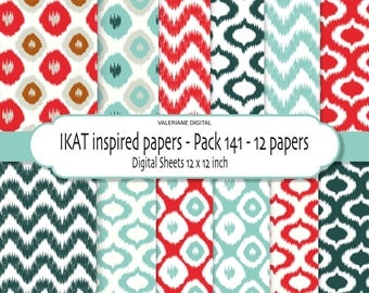 Ikat inspired Digital scrapbook printable paper pack - 12 jpg files 12x12 -  INSTANT DOWNLOAD Pack 141