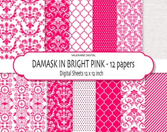 Damask digital paper, pink digital paper, hot pink Digital Scrapbook Printable Paper or digital backgrounds - 149