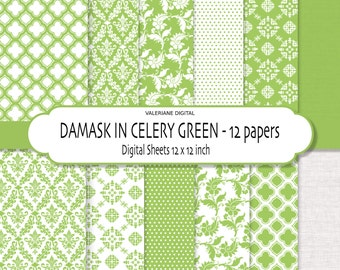 Damask digital paper, damask scrapbook paper, green digital paper, digital backgrounds, Celery Green printable papers - 165