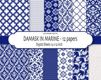 Damask digital paper, Navy blue digital paper, scrapbook paper, blue digital backgrounds - 167