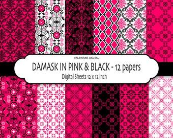 Pink digital paper, pink damask paper, hot pink scrapbook paper, hot pink digital backgrounds- 169