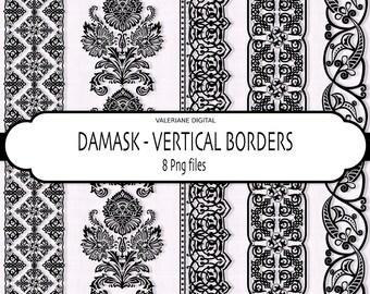 Vertical borders in black damask, Digital borders, clipart borders, border clip art - 205