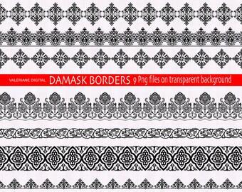 9 damask digital clip art borders in black - Clipart border, clip art ribbon, digital ribbon, damask border - 211