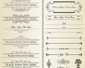 20 Classic Vintage Clipart Digital Design Elements for invitations, scrapbooking-  INSTANT DOWNLOAD - Calligraphy Clip Art Designs 213
