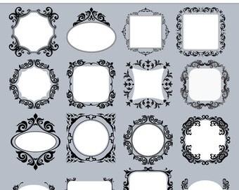 32 damask clipart  frames or labels - Digital frames - Clip art labels - 32 PNG files - INSTANT DOWNLOAD Pack 214