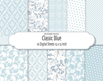 Blue Damask digital paper, digital scrapbook paper, floral digital paper -Pack 019