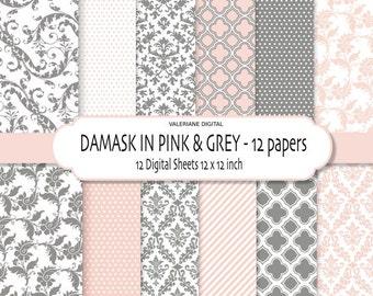 Damask digital paper pack in pink and grey, damask scrapbook paper, digital backgrounds - 12 jpg files 12x12 - INSTANT DOWNLOAD Pack 134