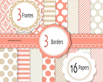 Coral Digital Paper Pack with beige, Digital scrapbook printable paper and clipart, 16 papers and 6 clip arts -  Pack 223