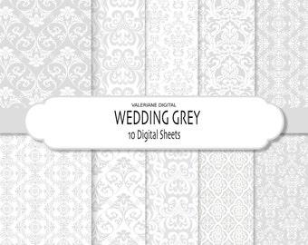 Grey Damask Digital Paper, grey wedding papers, grey scrapbook papers, digital Scrapbook Printable Paper - Pack 227
