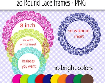 20 Lace frame clip art in bright colors, round lace frame clipart, digital scrapbook frame, doily - 240