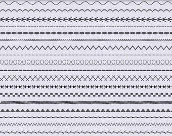 Digital stitch borders clip art in black and white, stitch border, digital ribbon, clipart - 40 PNG files - Digital clip art Border  255