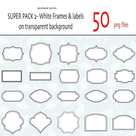 Clip di 50 cornici clipart digitale classico bianco ed