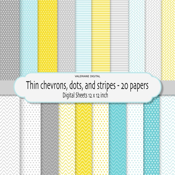 Chevron dots and stripes digital paper pack, chevron digital paper, chevron digital background -  INSTANT DOWNLOAD Pack 174