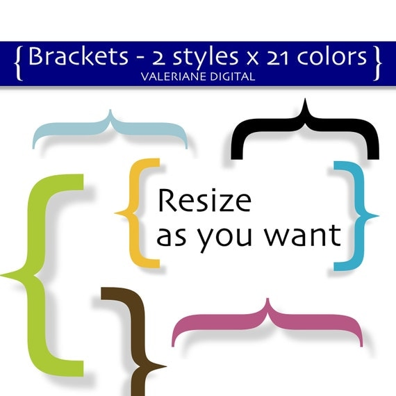42 classic brackets parentheses digital clipart  - 2 styles x 21 colours - 2 inch tall - PNG clip art - INSTANT DOWNLOAD Pack 181
