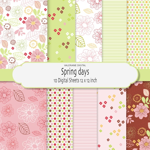 Florals dots and stripes in pink lime yellow, Digital scrapbook printable papers,10 jpg files 12x12 INSTANT DOWNLOAD 209