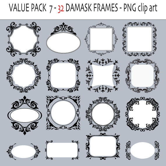 32 damask clipart  frames or labels - Digital frames - Clip art labels - 32 PNG files - INSTANT DOWNLOAD Pack 214