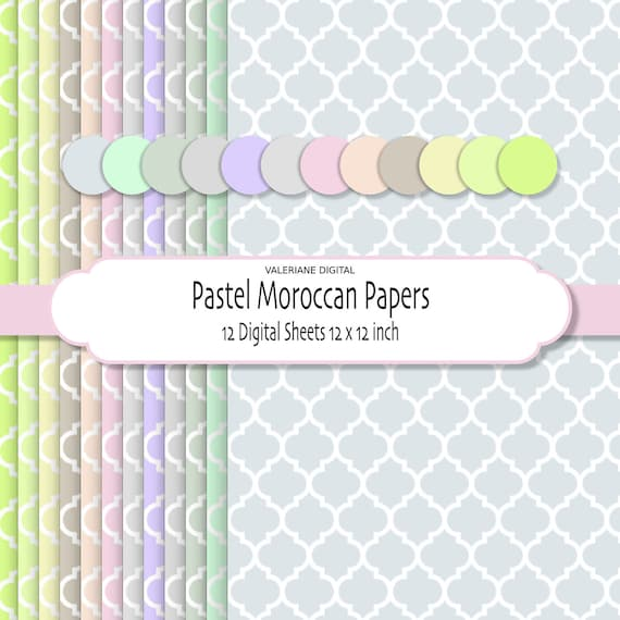 Pastel Moroccan Paper, Digital scrapbook Paper,  Pastel bakgrounds, 12 jpg files 12x12 - INSTANT DOWNLOAD Pack 046
